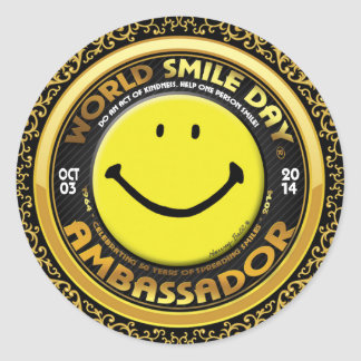 Embajador oficial 2014 de Day® de la sonrisa del Pegatina Redonda