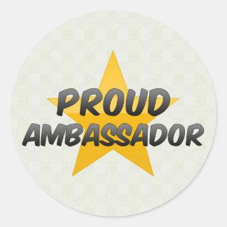Embajador orgulloso etiqueta redonda