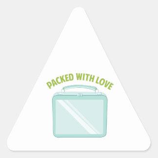 Embalado con amor pegatina triangular