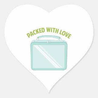 Embalado con amor pegatina en forma de corazón