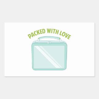 Embalado con amor pegatina rectangular
