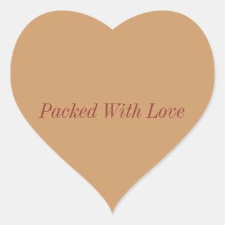 embalado con los pegatinas del amor, embalados con pegatina en forma de corazón