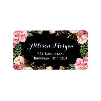 Embalaje floral moderno con clase y romántico etiqueta de dirección
