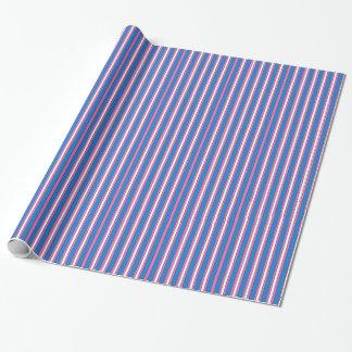 Embalaje rayado del rosa, púrpura y blanco del papel de regalo