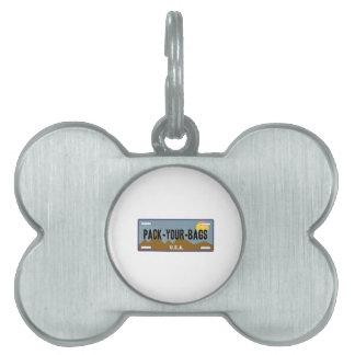 Embale sus bolsos placas de mascota