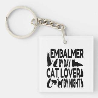 Embalmer del amante del gato llavero cuadrado acrílico a doble cara
