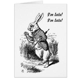 Embarazo - Alicia en la tarjeta blanca del conejo