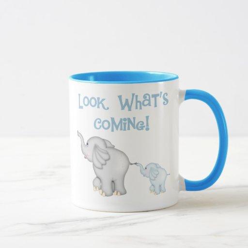 Embarazo azul del elefante taza