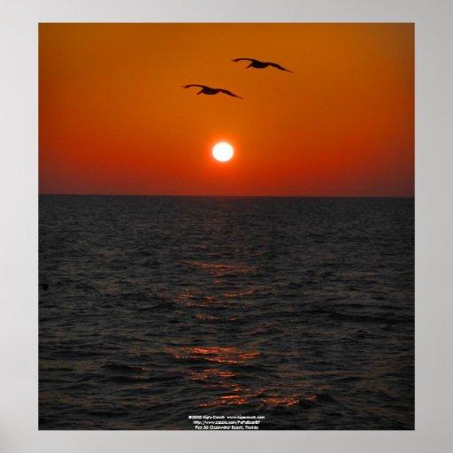 Embarcadero 60 Clearwater, puesta del sol de FL Póster