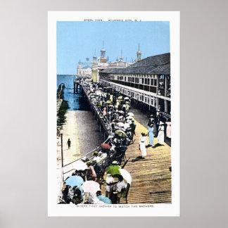 Embarcadero antiguo del acero de Atlantic City New Poster