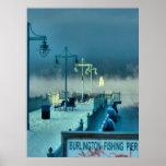 Embarcadero Burlington Vermont de la pesca Póster