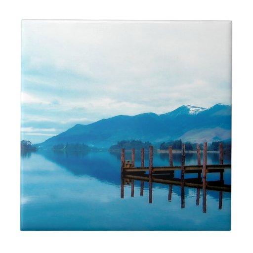 Embarcadero Cumbria de Derwent del lago water Azulejo Cuadrado Pequeño