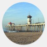 Embarcadero de Huntington Beach Pegatina Redonda