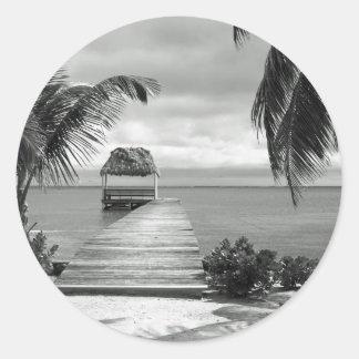 Embarcadero de la isla pegatina redonda