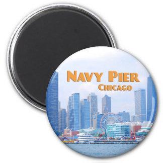 Embarcadero de la marina de guerra - Chicago Imán Redondo 5 Cm