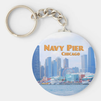 Embarcadero de la marina de guerra - Chicago Llavero Redondo Tipo Pin