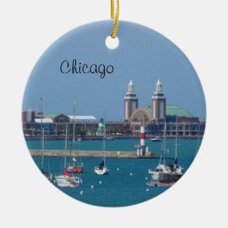 Embarcadero de la marina de guerra de Chicago Adorno Redondo De Cerámica