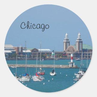 Embarcadero de la marina de guerra de Chicago Etiquetas Redondas
