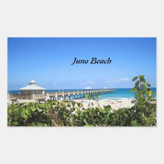 Embarcadero de la playa de Juno Rectangular Pegatina