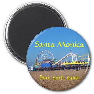 Embarcadero de la playa de Santa Mónica Imán Redondo 5 Cm