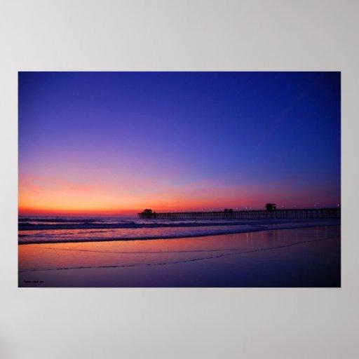 Embarcadero de la puesta del sol impresiones