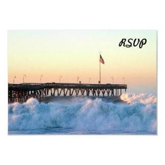 """Embarcadero de la tormenta de la ola oceánica invitación 3.5"""" x 5"""""""