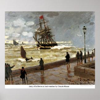 Embarcadero de Le Havre en mún tiempo de Claude Mo Póster