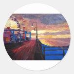 Embarcadero de Santa Mónica en el amanecer Pegatinas Redondas