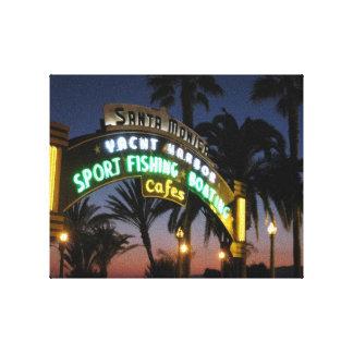 Embarcadero de Santa Mónica en la lona de la puest Lienzo Envuelto Para Galerias