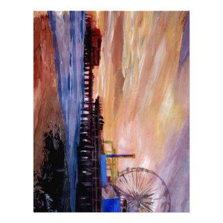 Embarcadero de Santa Mónica en la puesta del sol Membrete