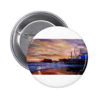 Embarcadero de Santa Mónica en la puesta del sol Pin