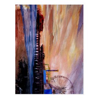 Embarcadero de Santa Mónica en la puesta del sol Postal