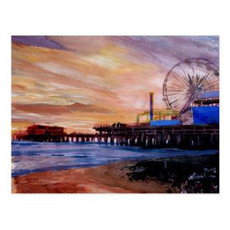 Embarcadero de Santa Mónica en la puesta del sol Tarjetas Postales
