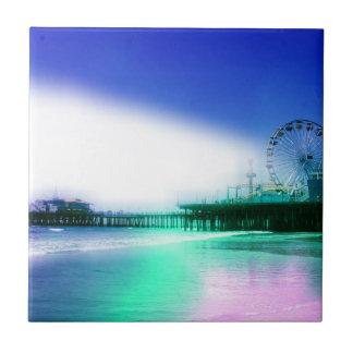 Embarcadero de Santa Mónica - la foto del verde az Azulejo Cuadrado Pequeño