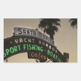 Embarcadero de Santa Mónica Pegatina Rectangular