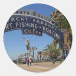 Embarcadero de Santa Mónica Pegatinas Redondas