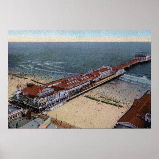 Embarcadero del acero de Atlantic City New Jersey Póster