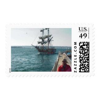 Embarcadero del agua de la navegación del barco de estampillas