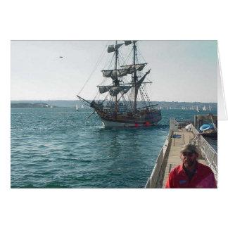 Embarcadero del agua de la navegación del barco de tarjeta de felicitación