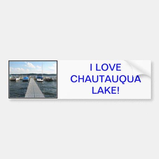 Embarcadero del barco - lago Chautauqua Pegatina Para Auto