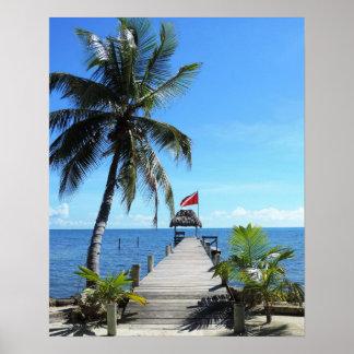 Embarcadero del salto de la isla póster