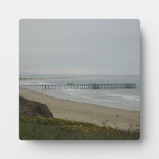 Embarcadero en la playa de Pismo, California Placa De Plastico