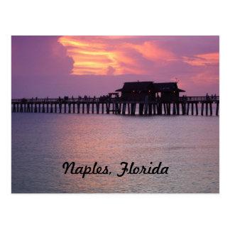 embarcadero en Nápoles, la Florida en la puesta de Tarjeta Postal