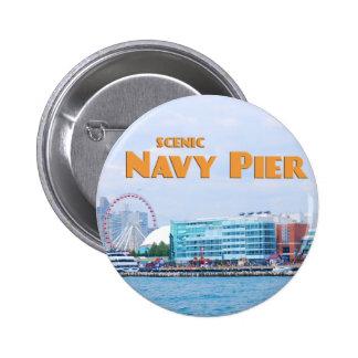 Embarcadero escénico de la marina de guerra - pin redondo de 2 pulgadas