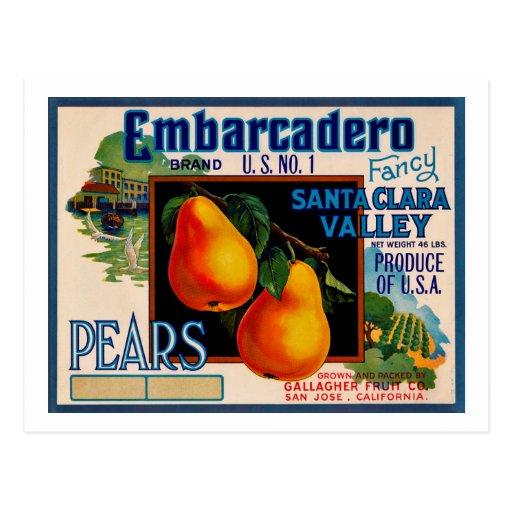 Embarcadero Fancy Santa Clara Pears Postcard