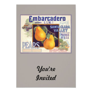 "Embarcadero Pears Fruit Crate Label 5"" X 7"" Invitation Card"
