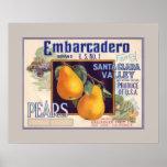 Embarcadero Pears Fruit Crate Label Poster