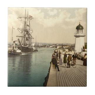 Embarcadero y puerto, Inglaterra de Littlehampton Azulejo Cuadrado Pequeño