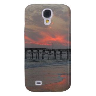Embarcadero y puesta del sol - isla del roble, NC Carcasa Para Galaxy S4