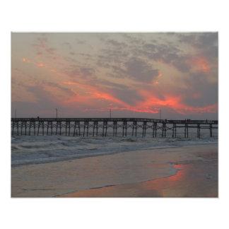 Embarcadero y puesta del sol - isla del roble, NC Arte Fotográfico